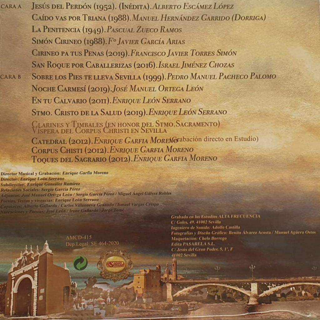 """Lista de marchas del disco """"La Oración"""" (2020), de la Banda de Cornetas y Tambores Esencia (Sevilla)"""