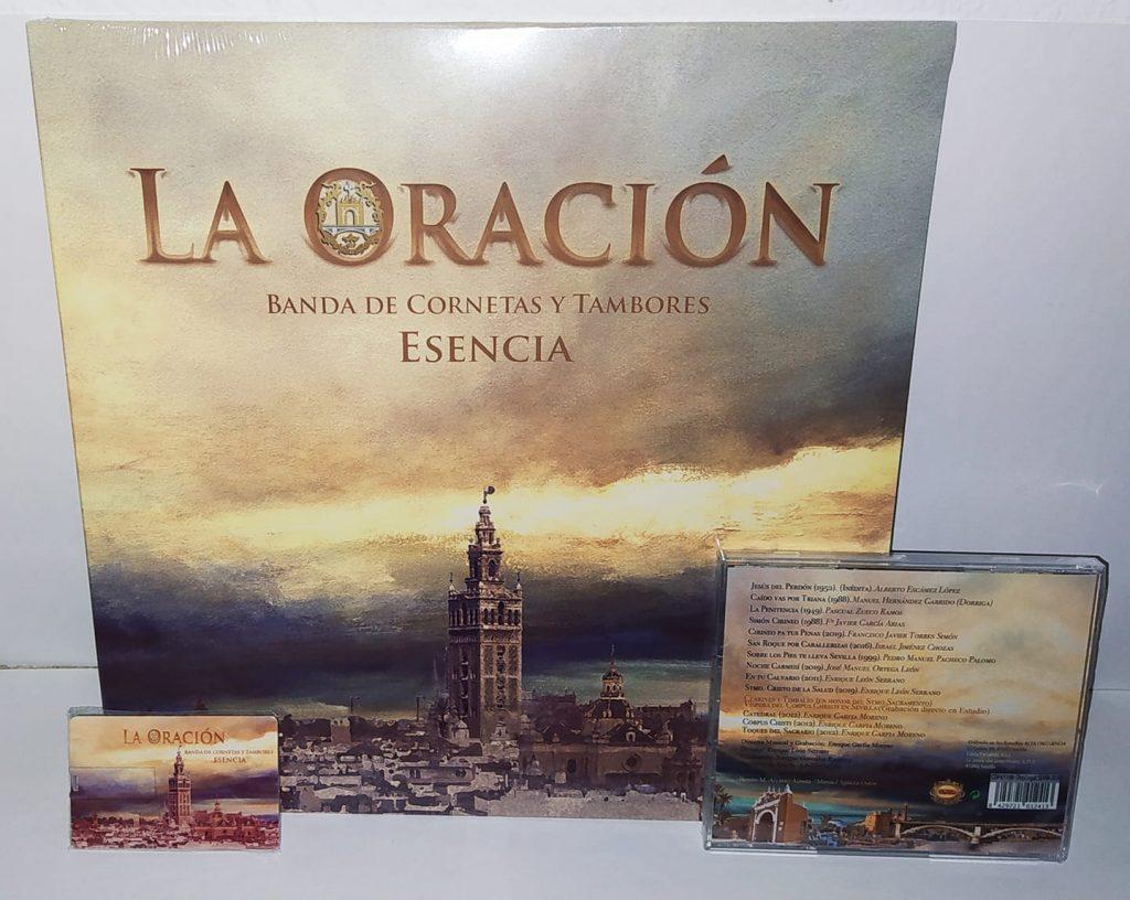 """Formatos Vinilo, Pen Drive y CD del trabajo discográfico """"La Oración"""" (2020), de la Banda de Cornetas y Tambores Esencia (Sevilla)"""